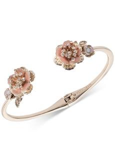 Marchesa Gold-Tone Crystal Flower Cuff Bracelet