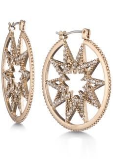 Marchesa Gold-Tone Pave Starburst Hoop Earrings