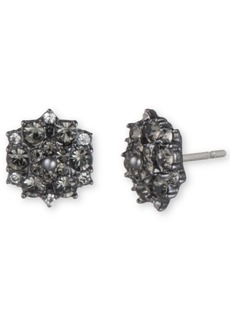 Marchesa Hematite-Tone Crystal & Imitation Pearl Cluster Button Earrings