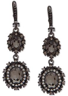 Marchesa Hematite-Tone Crystal Double Drop Earrings