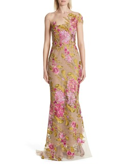 Marchesa Illusion Multicolor Column Gown