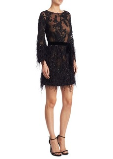 Marchesa Lace Tunic Cocktail Dress