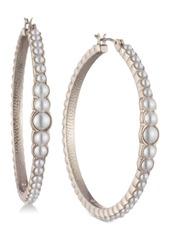 "Marchesa Medium Gold-Tone Imitation Pearl Hoop Earrings 1-2/5"""
