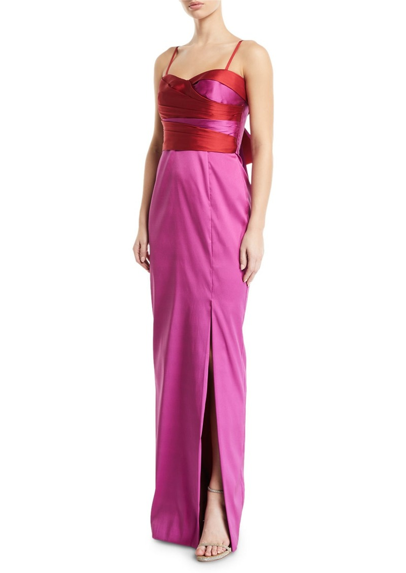 Marchesa Notte 2-Tone Stretch Mikado Back-Bow Gown