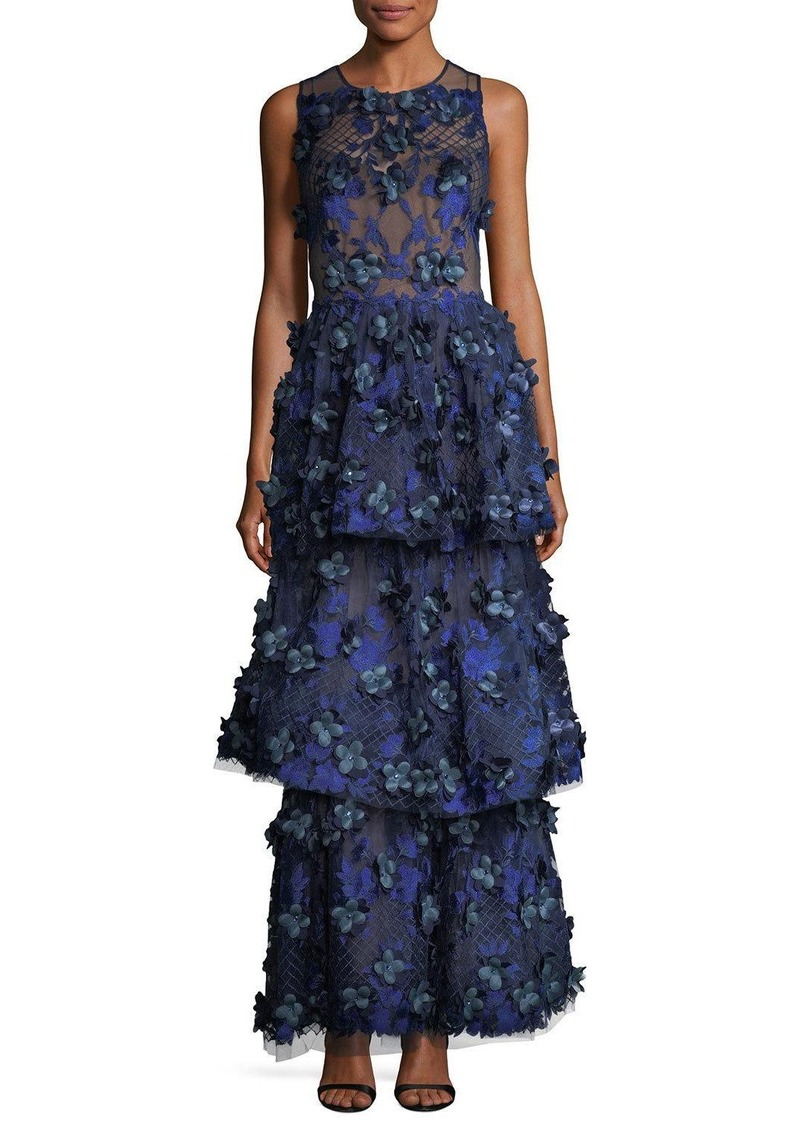 Marchesa Marchesa Notte 3 D Embroidered Sleeveless Tiered