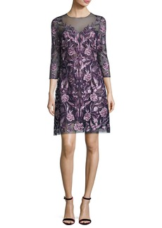 Marchesa Notte 3/4-Sleeve Embroidered Floral Mesh Cocktail Dress