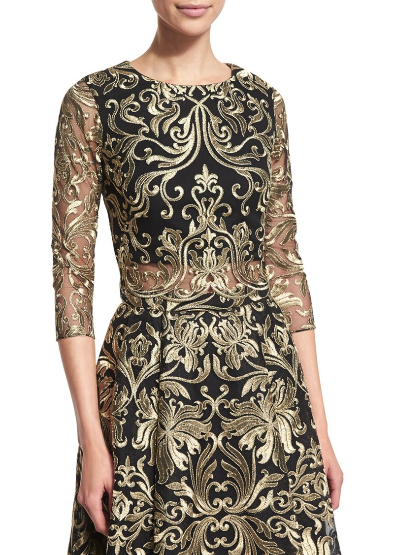 Marchesa Notte 3/4-Sleeve Embroidered Top
