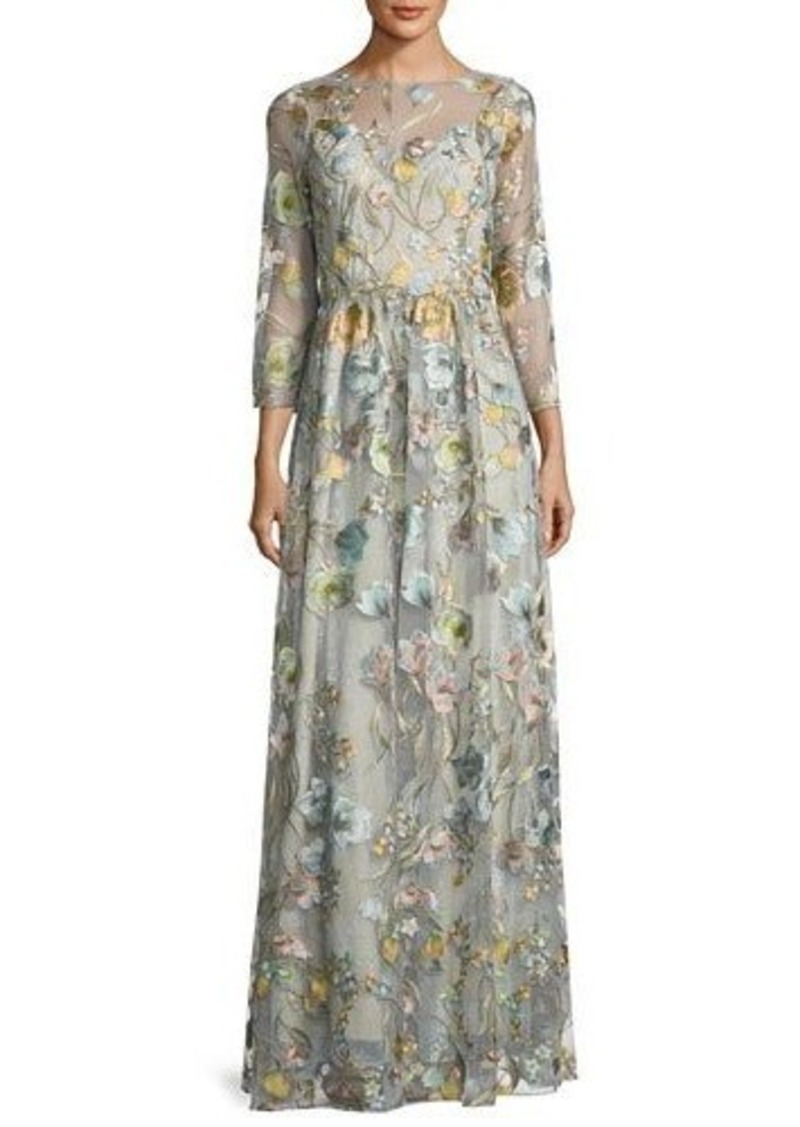 59ae95d96fa Marchesa Marchesa Notte 3/4-Sleeve Embroidered Tulle Gown
