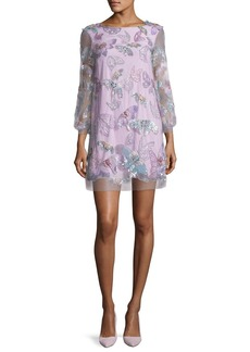 Marchesa Notte 3/4-Sleeve Tulle Butterfly Tunic Cocktail Dress