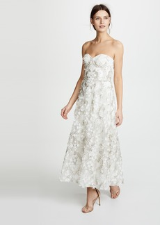 Marchesa Notte 3D Embroidered Strapless Gown