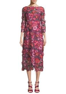 Marchesa Notte 3D Floral Guipure Lace V-Back Midi Cocktail Dress