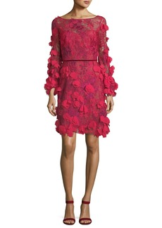Marchesa Notte 3D Floral Long-Sleeve Cocktail Dress
