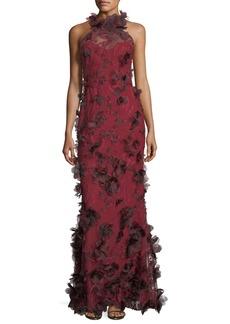 Marchesa Notte 3D Floral Sleeveless Halter Evening Gown