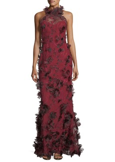 Marchesa Notte 3D Floral Sleeveless Halter Evening Gown