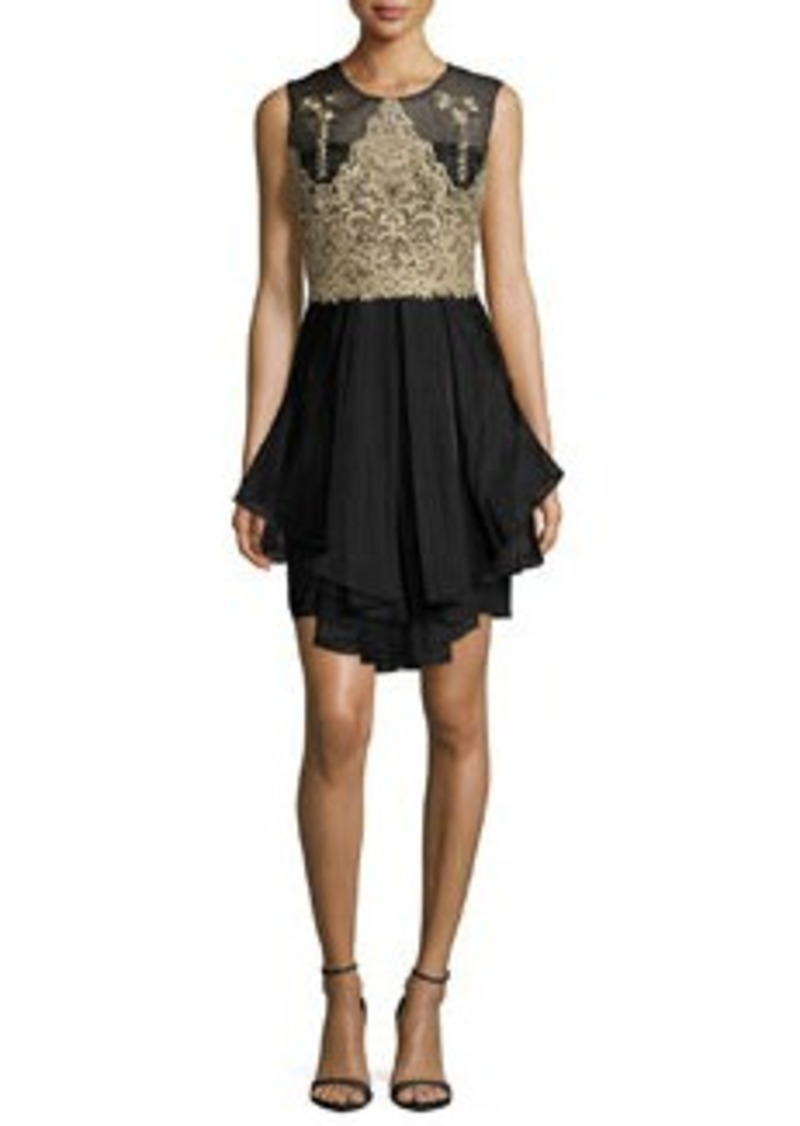 Marchesa Sleeveless Embroidered Bodice Ruffled Cocktail Dress