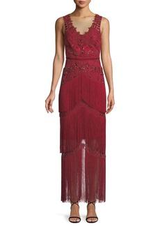 Marchesa Notte All Over Beaded Sleeveless Fringe Long Dress