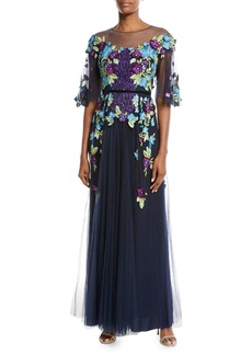 Marchesa Allover Beaded Gown w/ Tulle Skirt