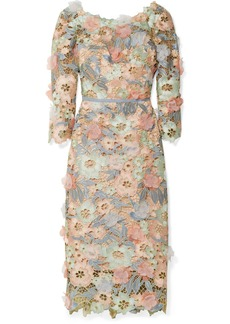 Marchesa Notte Appliquéd metallic guipure lace midi dress