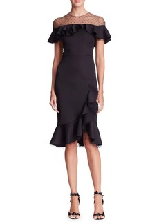 Marchesa Notte Asymmetric Mesh Dress
