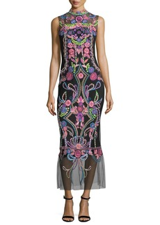 Marchesa Notte Aztec Floral Beaded Sheer Midi Cocktail Dress