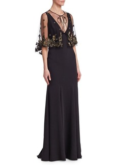 Marchesa Beaded Cape V-Neck Gown