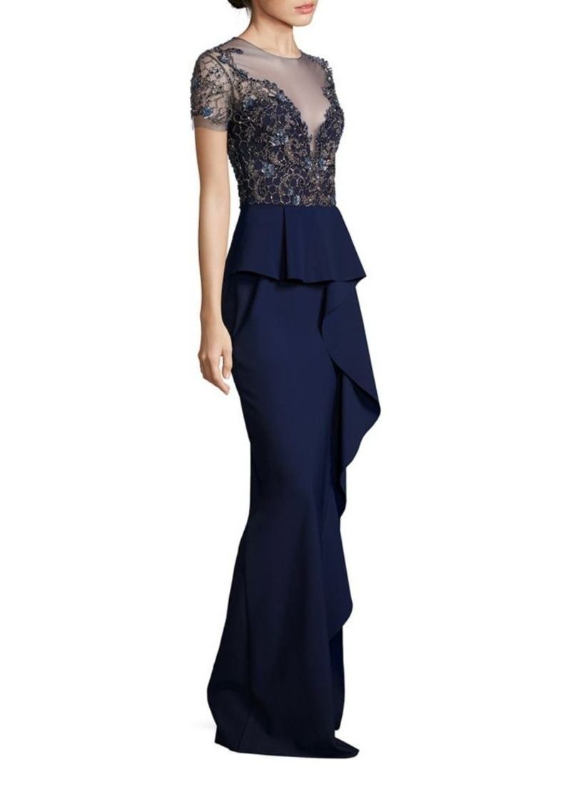 Marchesa Marchesa Notte Beaded Embroidered Peplum Gown | Dresses