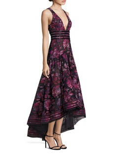 Marchesa Notte Beaded Floral Gown
