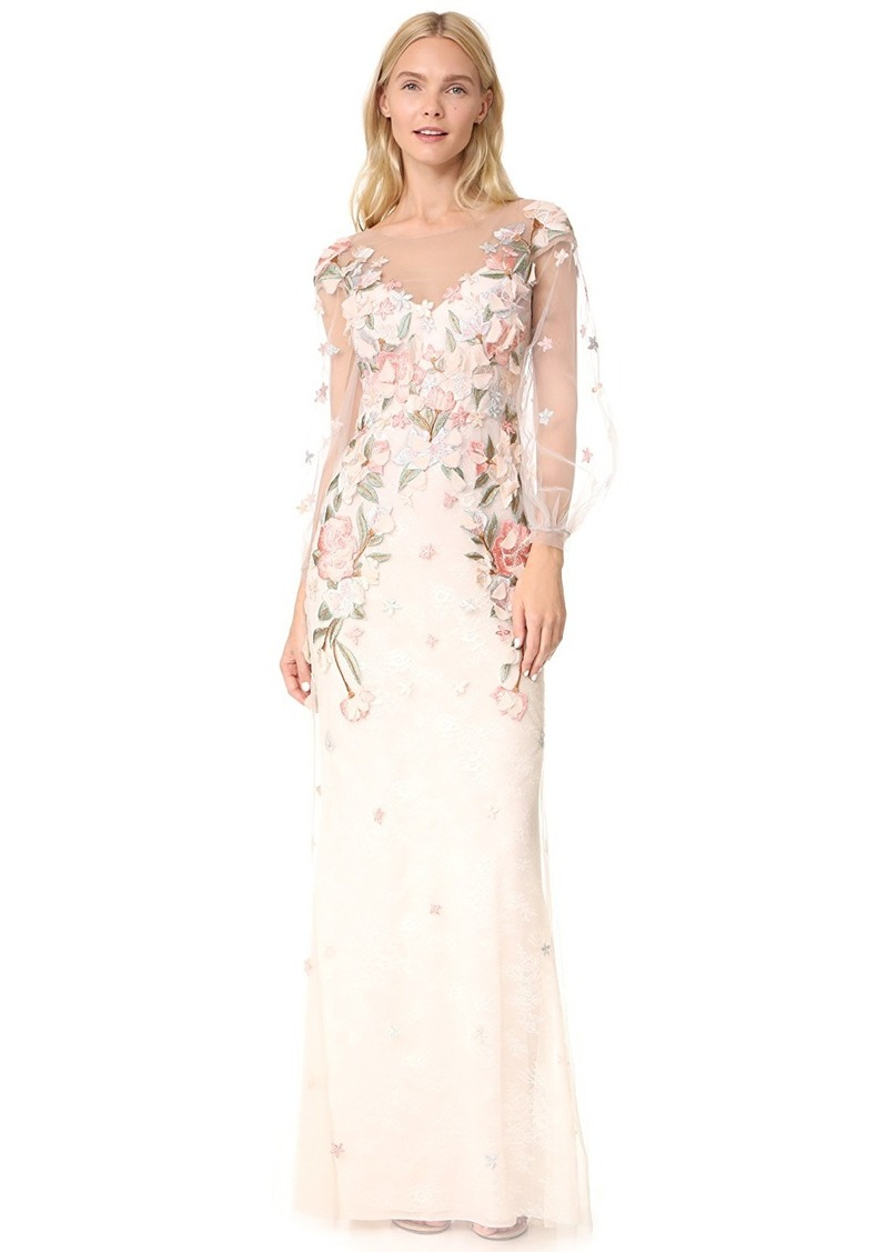 Marchesa Marchesa Notte Beaded Gown with Bishop Sleeve | Dresses