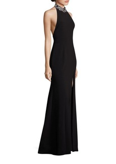 Marchesa Notte Beaded Halter Neck Gown