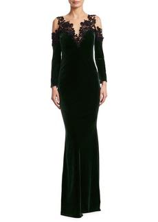 Marchesa Notte Beaded Velvet Gown