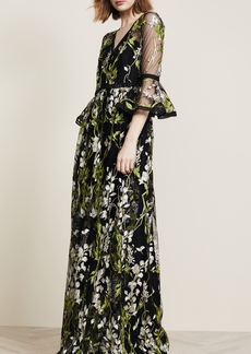 Marchesa Notte Bell Sleeve Gown with Lace Trim