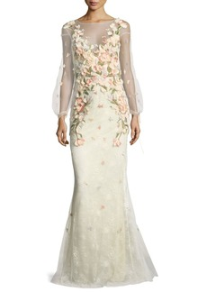 Marchesa Notte Bishop-Sleeve Lace Evening Gown w/ Floral Appliques