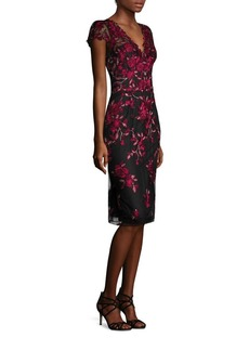 Marchesa Notte Cap Sleeve Embroidered Dress