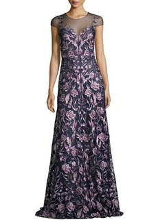 Marchesa Notte Cap-Sleeve Embroidered Floral Mesh Gown