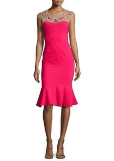 Marchesa Notte Cap-Sleeve Embroidered Flounce Dress