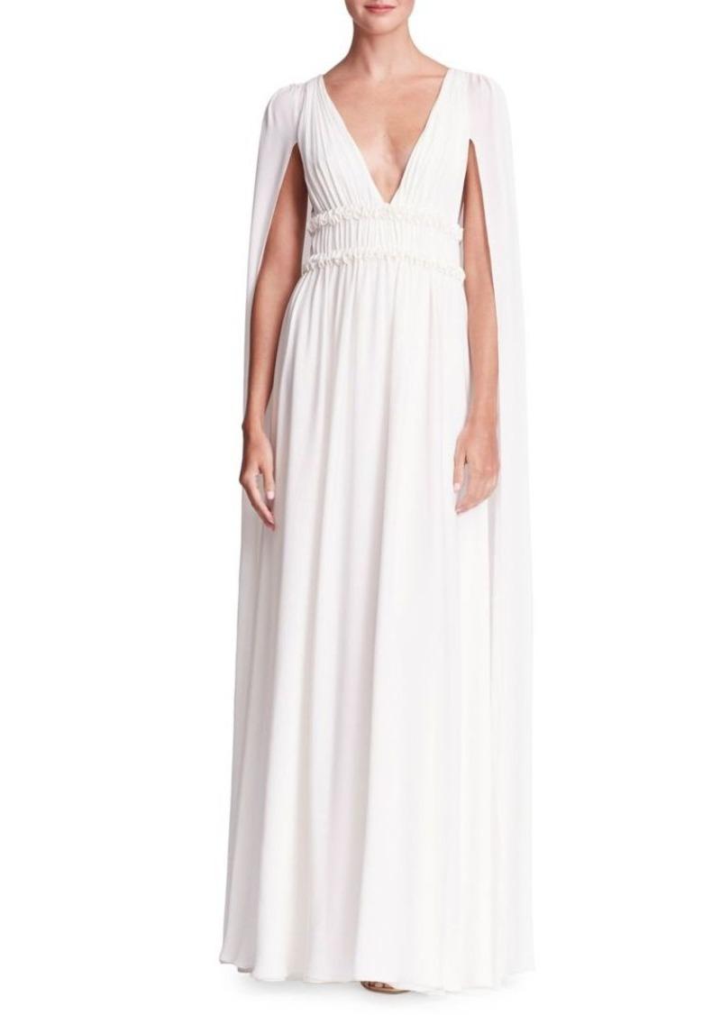 2155063f Marchesa Marchesa Notte Cape-Sleeve Silk Floor-Length Dress   Dresses