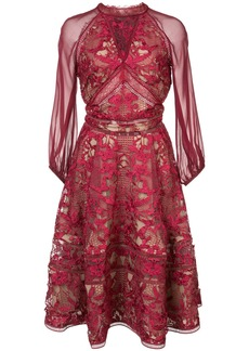 Marchesa Notte cocktail lace dress - Pink & Purple