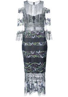 Marchesa Notte cold-shoulder embroidered lace dress - Blue