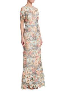 Marchesa Notte Cold-Shoulder Floral Gown