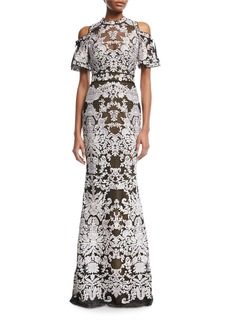 Marchesa Notte Cold-Shoulder Guipure Floor-Length Gown