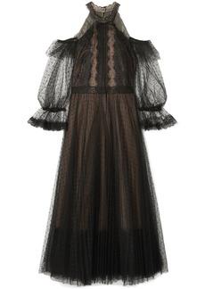 Marchesa Notte Cold-shoulder lace-trimmed point d'esprit tulle midi dress
