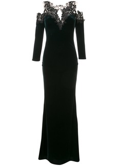 Marchesa cold-shoulder velvet gown