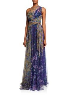 Marchesa Notte Colorblock Floral-Print One-Shoulder Tulle Dress w/ Back Cutout