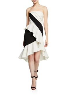 Marchesa Notte Colorblocked Strapless High-Low Cocktail Dress