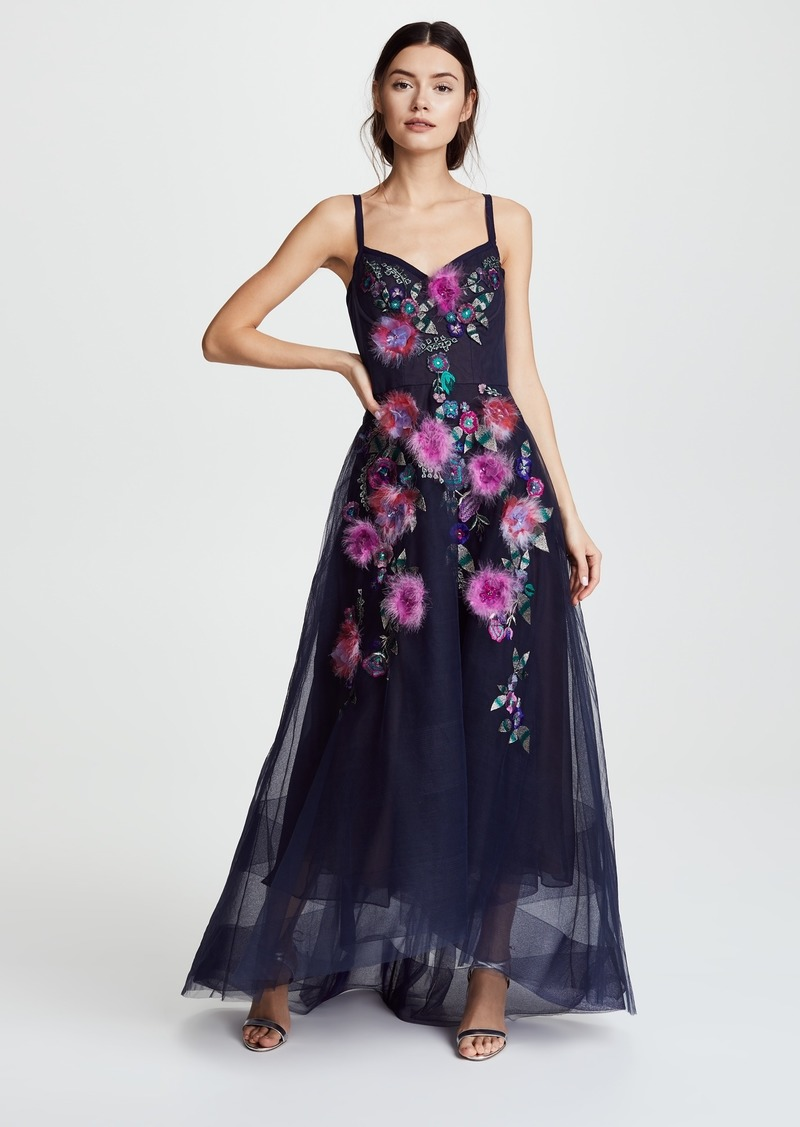 Marchesa Marchesa Notte Corseted High Low Gown with Feather Embroidery