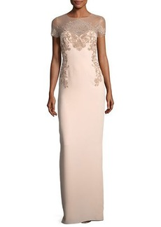 Marchesa Crepe Evening Gown w/ Illusion & Embroidery