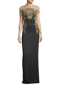 Marchesa Notte Crepe Evening Gown w/ Illusion & Embroidery