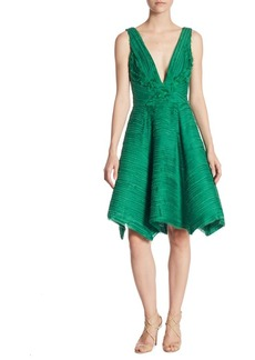 Marchesa Notte Crinkle Chiffon V-Neck Dress