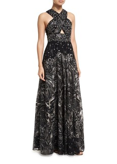 Marchesa Notte Crisscross High-neck Sleeveless Embroidered Tulle Gown