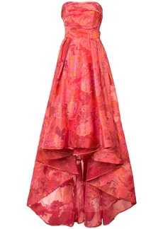 Marchesa Notte draped floral-jacquard gown - Red